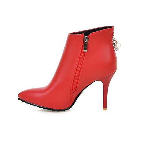 B PU Ankle Solid High Womens Boots M Stilettos AmoonyFashion Spikes Zipper 10 US Red 6PwxZS