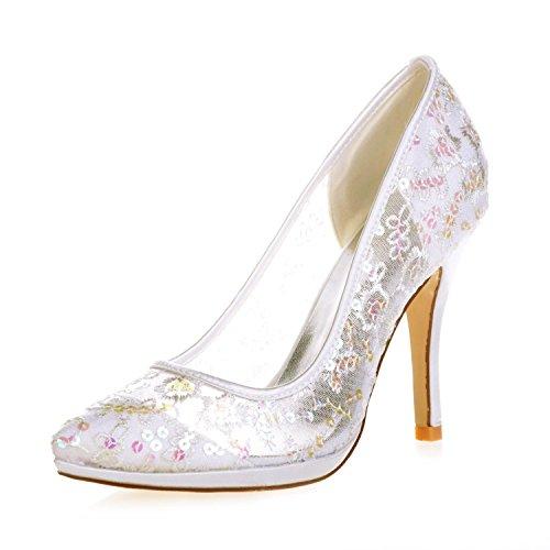 Chaussures L Fermé Forme Femme Mariage Plate Dentelle Pointu Toe Satin YC Court De Pompe Talons silver Hauts 32 0255 FpqxTRwrF