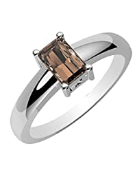 0.80ctw,Genuine Smoky Quartz 4x6mm Octagon & Solid .925 Sterling Silver Rings