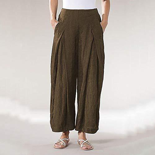 YKARITIANNA Plus Size Women Pure Color Tightness Wide Leg Pants Pocket Easy Trousers 2019 Summer Coffee