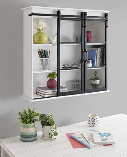 """Kate and Laurel Barnhardt Decorative Wooden Wall Cabinet with Two Sliding Glass Doors, 30"""" x 28"""", White, Barndoor Modern Farmhouse Storage"""