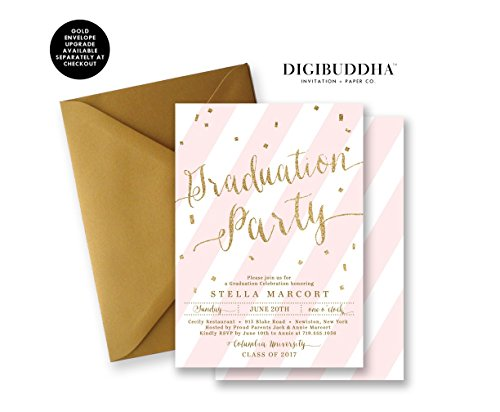 Graduation-Party-Invitations-Pink-Striped-Gold-Glitter-Look-Announcement-Cards-Boutique-Invites-with-Envelopes-Stella-style