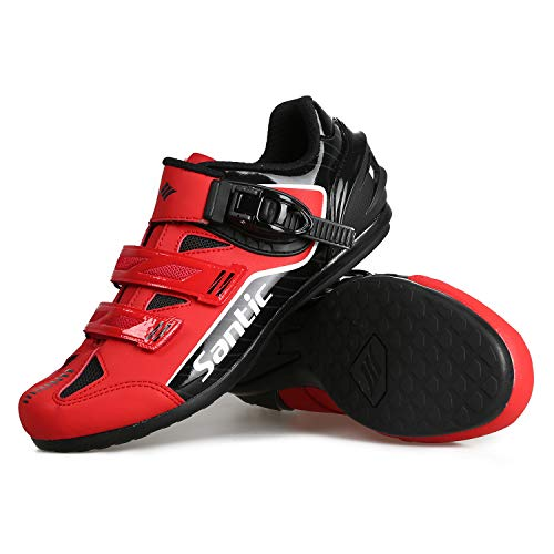 Santic Cycling Shoes Men SPD Spin Unlocked Bike Bicycle Road Biking Lock Shoes MTB Cycling Accessories Self-Locking Shoes Red 9.5