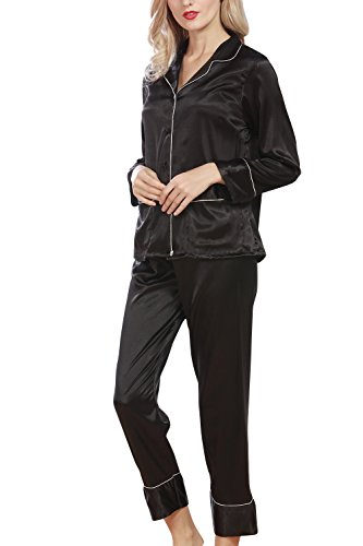 Dolamen Pijamas Camisón para mujer, Mujer Cordón Largo Camisones raso Satin Pijamas, lencería Collar de botón con botones Satén Neglige Lencería Ropa de Dormir Negro