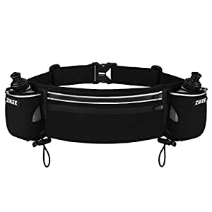 Zikee Hydration Running Belt with 2 BPA free water bottles, Adjustable Waist Pack/Workout Pouch/Wallet Fanny Pack Bag, Fits iPhone 6/6S/6 Plus/6s Plus, Samsung Galaxy S5/S6, Note 4/5, for Men & Women