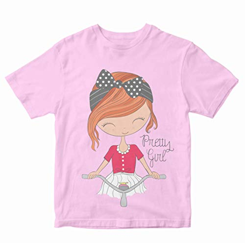Heybroh Girls' Regular Fit T-Shirt Girl Riding A Bicycle 100% Cotton Girl's Unisex Fit T-Shirt