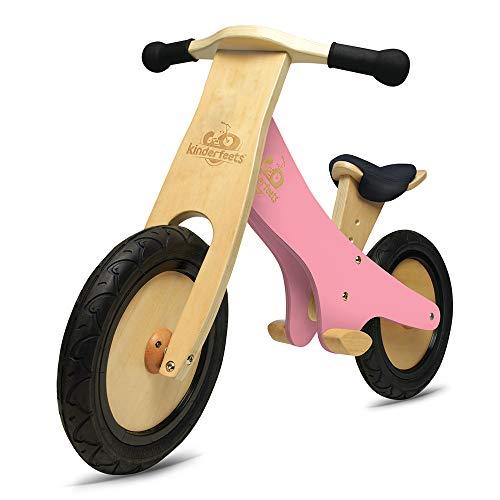 Kinderfeets Classic Chalkboard Wooden Balance Bike, Classic Kids Training No Pedal Balance Bike, Pink