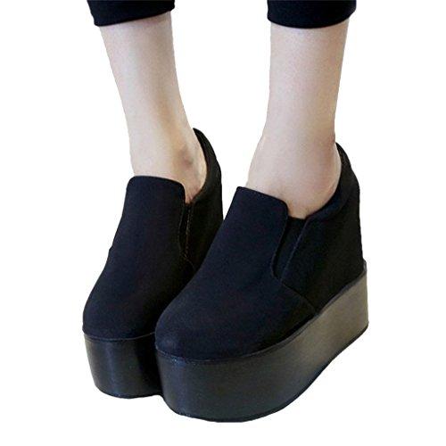 Dear Time Women High Heels Platform Wedge Shoes Black Suede US (Heel Platform Creeper Shoe)