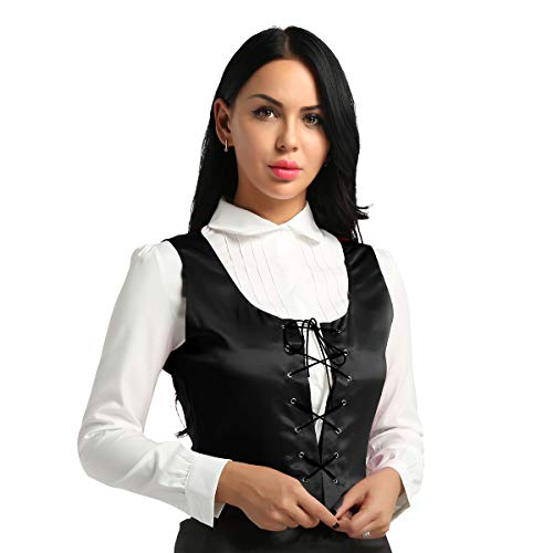 Freebily Women Renaissance Wench Halloween Costume Reversible Peasant Bodice Lace Up Vest Top Black XX-Large