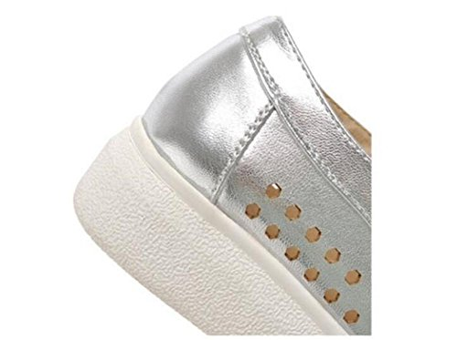 LDMB Flat Deep Mouth Casual Court Chaussures Hollow respirant Chaussures Talon épais , silver , 39