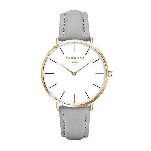 Chronos Men Women Quartz Watch Unisex Grey PU Leather Watch Causal Minimalist Rose Gold Thin Rose Gold Wristwatches Chrono Leather Unisex Watch