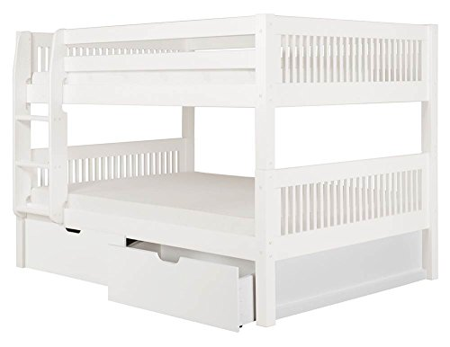 Full Over Full Low Bunk Bed with Drawers in White Finish
