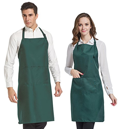 HOPESHINE 2-Pack Plus-size Aprons for Men with Pockets Water Resistant Adjustable Kitchen Aprons Dish Washing Grooming Chef Aprons (38 inch X 38 inch, Dark Green X2) (Plus Dishwashing Liquid)