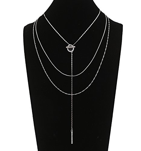 Choker Necklaces for Women Girls Cubic Zirconia Open Circle Bar Pendant Y Necklace Delicate Chain Necklace Silver Tone ()