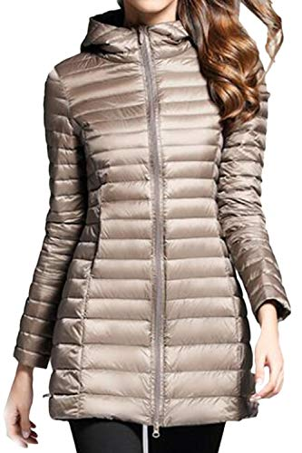 Lightweight Packable Fit Down Jackets Women Hooded Vepodrau Khaki Outwear Slim Jacket UHXY0OwOq