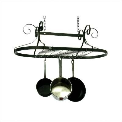 Enclume DR1-kd Decor Oval Ceiling Rack with Grid, Hammered Steel