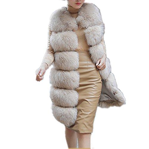 Women's Faux Fox Fur Vest Long Fur Jacket Warm Faux Fur Coat Outwear (Beige, 3XL) - Long Fur Vest
