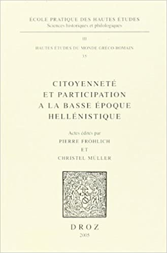 Book citoyennete et participation a la basse epoque hellenistique