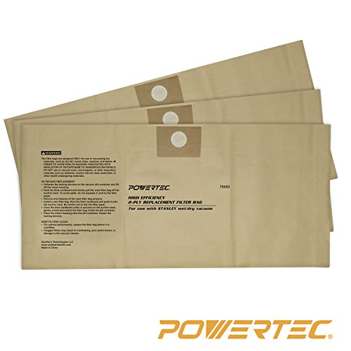 POWERTEC 75003 High Efficiency 4 to 5-Gallon Filter Bags for Stanley 25-1230, (High Efficiency Vacuum Filter Bags)