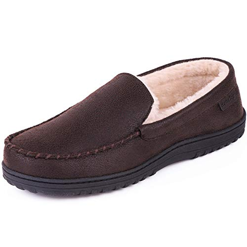 Men's Wool Micro Suede Moccasin Slippers House Shoes Indoor/Outdoor (46 (US Men's 13), Faux Leather - Brown)