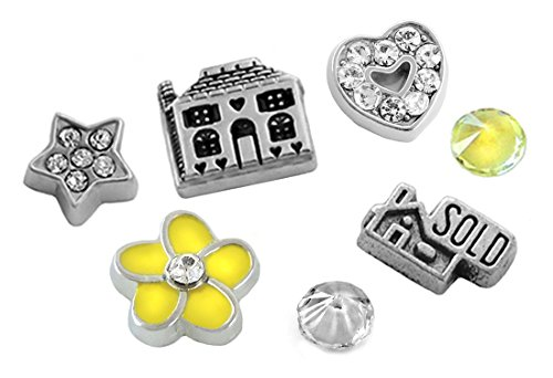 7 pc REALTOR REAL ESTATE SOLD HOUSE Floating Charm Set - Fits all Generic or Memory Glass - Zillow Glasses