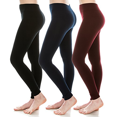 EttelLut 3 Pack Fleece Lined black leggings plus sized Women and Juniors Blk Navy Burg (Junior Tights)