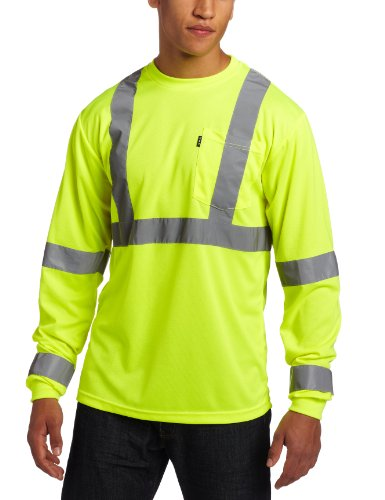 Visibility Regular Hi Large - Key Apparel Men's Big-Tall Long Sleeve High Visibility Waffle Weave Reflective Stripe Pocket Tee Shirt, Hi-vis, 4X-Large-Regular