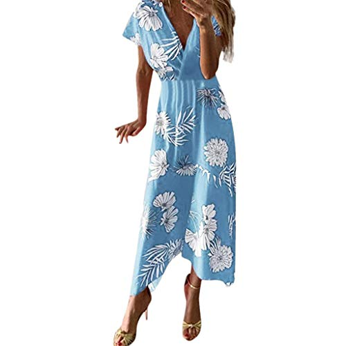 ZSBAYU Women's Wrap Maxi Dress Short Sleeve V Neck Floral Flowy Front - Skirt Pleat Embroidered Front