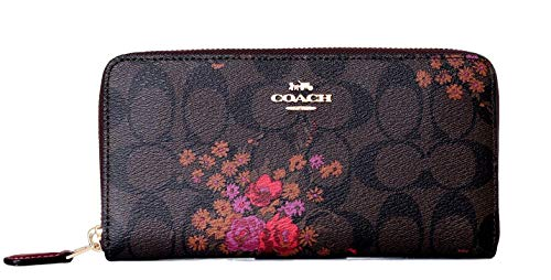 (COACH SIGNATURE ACCORDION ZIP WALLET WITH FLORAL)