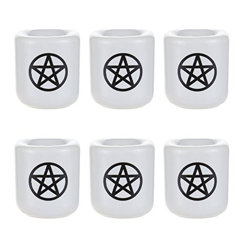 Mega Candles 6 pcs Ceramic Black Pentacle Chime Ritual Spell on White Candle Holder, Great for Casting Chimes, Rituals, Spells, Vigil, Witchcraft, Wiccan Supplies & More