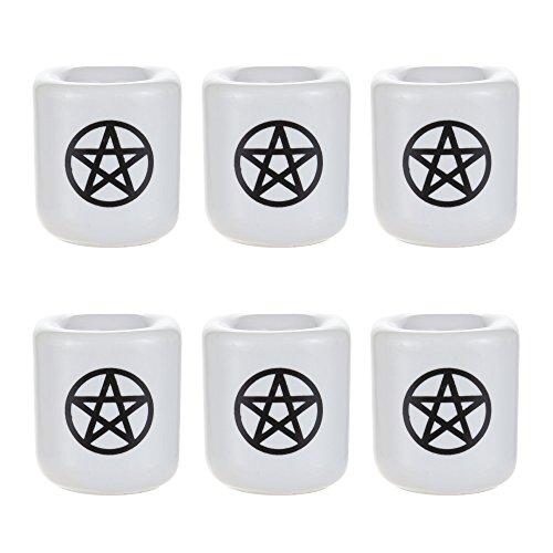 (Mega Candles - 6 pcs Ceramic Black Pentacle Chime Ritual Spell Candle Holder -)