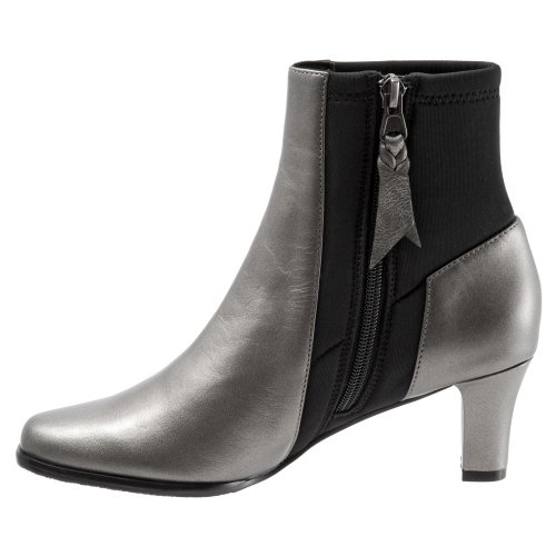 Kidskin Trotters Soft Women's Pewter Janet Metallic Ankle black Boot xxrFvB