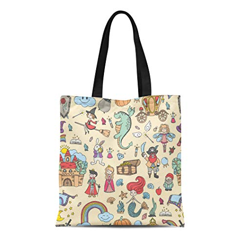 Semtomn Cotton Canvas Tote Bag Prince Collection of Fairy Tale and for Castle Drawn Reusable Shoulder Grocery Shopping Bags Handbag Printed ()