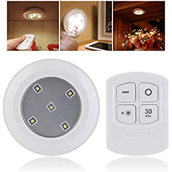 Ueetek Battery Powered Night Light Remote Control Puck