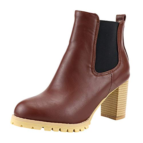 Hunauoo Deals Women High Heels Ankle Boots Winter Classics Large Size Elastic Band Short Plush Boots Brown