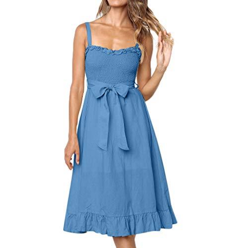 Wedding Dress Women's Dresses Boho Floral Spaghetti Strap Button Down Belt Swing Dress Traditional & Cultural Wear Blue L (Cultural Dress Up Clothes)