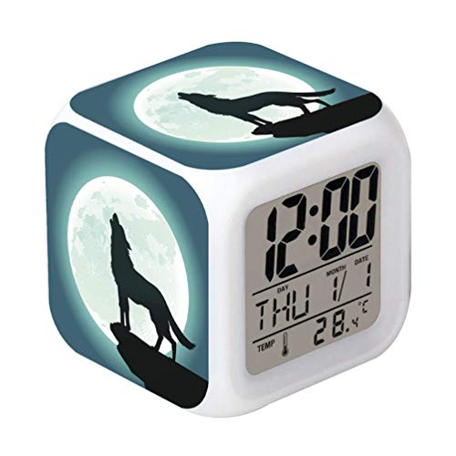 lock Wolf Moon Design Creative Desk Table Clock Glowing Electronic colorful Digital Alarm Clock for Unisex Adults Kids Toy Birthday Present Gift ()