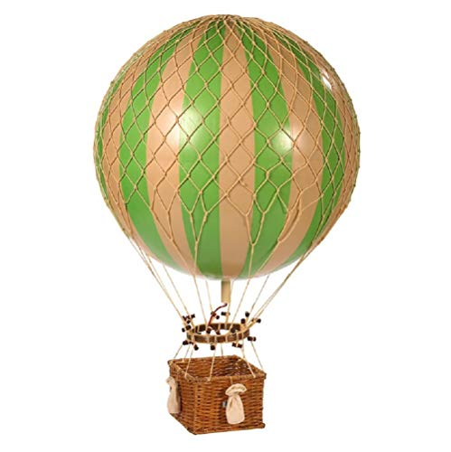 Authentic Models, Jules Verne Balloon, Helium Hot Air Balloon Model, Rattan and Paper - True Green