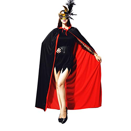 Yomiie Halloween Costumes 140CM Unisex Cool Cloak Uniform Masquerade Party Cape Vampire Dracula Villian Goth Magician Cosplay Costume Accessory (Black and Red Reversible, 55'') -