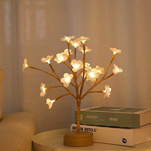 BHCLIGHT Battery Operated LED Plum Blossoms Tree Lights 1ft 20LED Bonsai Lighted Tree Tabletop LED Tree Lamp Spring Home Decor Artificial Plants (Tree Flower Lamp)