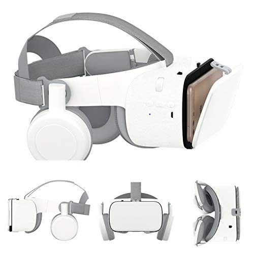 3D VR Glasses/Headset, Virtual Reality Headset Cellphone 3D Movie/Game Viewer [Newest]+Bluetooth Headphones for iPhone…