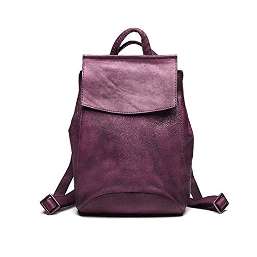 Handcrafted School Hombres Purple Leather Laptop Gray Rucksack Weatly Real Bookbag Daypack color Vintage Para Backpack College Dark 4Aqdwa0d