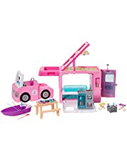 Barbie GHL93 3-in-1 DreamCamper Vehicle, approx. 3-ft, Transforming Camper with Pool, Truck, Boat and 50 Accessories, Makes a Great for 3 to 7 Year Olds