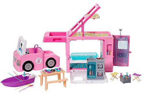Barbie Caravana para acampar 3 en 1 de Barbie con piscina, camioneta, barca y 50 accesorios, regalo para niñas y niños 3…