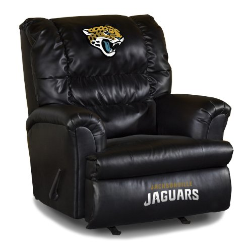Black Leatherette Cushion Swivel Recliner (Imperial Officially Licensed NFL Furniture: Big Daddy Leather Swivel Rocker Recliner, Jacksonville)