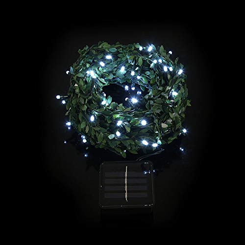 Pratcgoods Artificial Ivy Vines with 50 LED Solar String Lights Outdoor Rattan Lights Solar Powered Lamps Fairy Twinkle Lighting Hanging Garland Fake Plants Indoor Garden Party Decor (Umbrella Ivy)