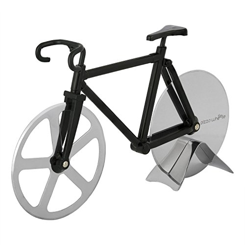 Bicycle Pizza Cutter - Original PIZZA WHEELIE - Dual Stainless Steel Bike Wheels- Includes Kitchen Display Stand