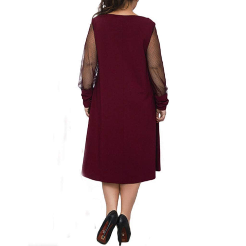 Plus Size Women Long Sleeve Baggy Midi Dress Ladies Party V Neck Lace Tunic Dress Top 2XL-6XL (Wine Red, XXXXXL) by Unknown (Image #5)