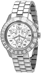 Christian Dior Women's CD114311M002 Christal Chronograph Diamond White Dial Watch