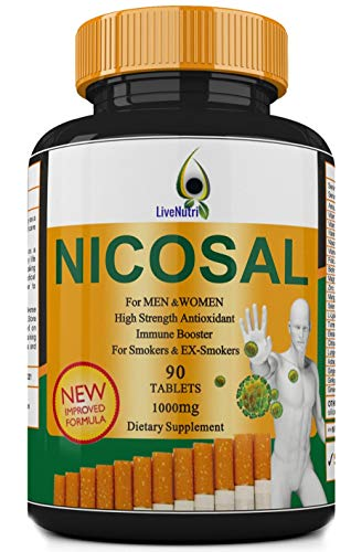 Smokers Vitamin 90 Tablets Nicosal, High Strength Immune Booster for Smokers and Ex-Smokers, Lung Clear, Nicotine Detox…